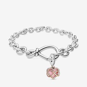 Infinity with Heart Dangle Bracelet Set